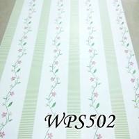 WPS502  CREAM N GREEN STRIPE LINE   WALLPAPER STICKER  WALPAPER DINDIN