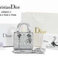 Tas Dior My Lady Patent Mini Chain Silver Dove Semprem AP6621-1