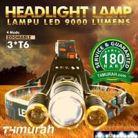 Lampu Kepala Senter Headlamp T6 BONUS Baterai dan Charger