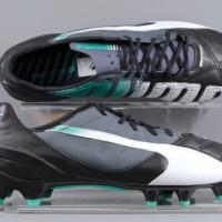 Sepatu Bola Puma Evospeed 1.3 Leather Black Grey Original