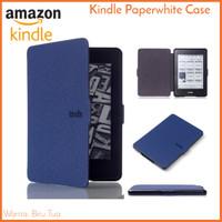 Kindle Paperwhite Case Biru Tua Navy - PU Leather Smart Magnetic Cover