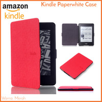 Kindle Paperwhite Case Merah Red - PU Leather Smart Magnetic Cover