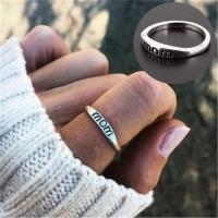 Import Perhiasan Cincin Tulisan MOM untuk Hadiah Hari Ibu