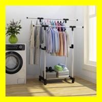 PROMO Standing Hanger DUA SISI Rak Handuk Sprei 4 Roda Gantungan Baju