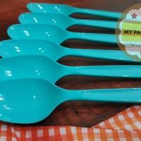 Sendok Makan Plastik Premium - BIRU Terang (harga isi 100pc