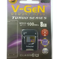 MicroSD V-GeN Turbo 8GB Class 10 85MB/S + Adapter (Memory HP VGEN)
