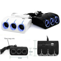 Aksesoris Variasi Mobil Socket Lighter Putih 3 In 1 + 2 USB 1.2A Onoff