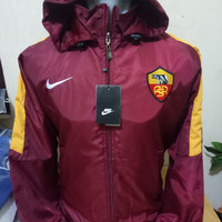Jaket Parasut Waterproof Windbreaker AS Roma Home Maroon 17/18