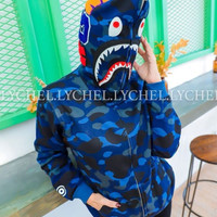 jaket bape hoodie biru import