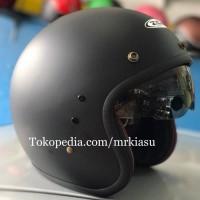 Terbaru Helm Half Paling Top zeus 380 matt hitam dop helm retro bogo