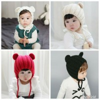 topi kupluk import anak unisex bahan wol gaya kupluk korea 1-3 tahun