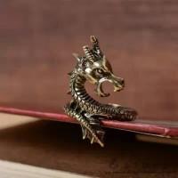 cincin naga kekaisaran perunggu titanium aksesoris pria dan wanita