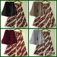 setelan baju wanita set 2in1 atasan blouse  celana kulot batik