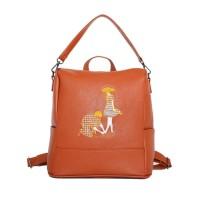 Tas Punggung Wanita Ransel Fashion Coklat  Shoulder Bag Muah Cantik