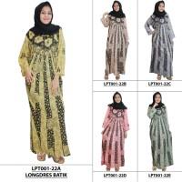 Jual Longdres Batik, Daster Lengan Panjang, Baju Tidur, Kancing,(LPT001-22) Murah