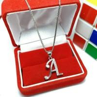 Kalung + liontin inisial huruf silver 925 lapis emas putih