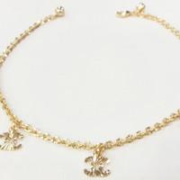 Aksesoris gelang kaki emas kuning perhiasan imitasi 03