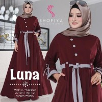 Gamis Polos Modern Baju Muslim Wanita Kekinian LUNA Dress