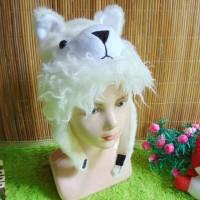 topi binatang animal hat anak PAUD TK motif serigala putih