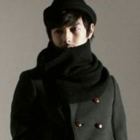 Scarf / Syal / Shawl Wool Rajut Korea Tebal Lembut Double Loops Hitam
