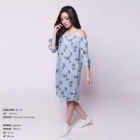 Midi Dress Sabrina Salur Biru Muda Motif Butterfly Big Jumbo XL Import