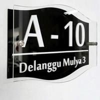 Plat Nomor Rumah Acrylic Custom 3 Lapis Warna Hiasan Dinding Akrilik