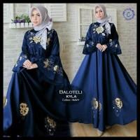 Baru! Maxi Balotelly Kyla Navi Fashion Wanita Baju Muslim Gamis Pesta