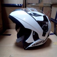HELM INK AVENTURE WHITE FULL MODULAR FULLFACE FLIP UP NIKMATI BEST Q