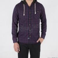 Kemeja pria flanel / flannel hoodie / kupluk model jaket sweater cowok