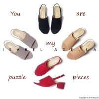 Isabel WIZZY Sepatu Wanita Hak Tinggi Block Heels Hitam AbuMokaMerah