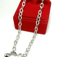 perhiasan gelang kaki silver 925 lapis emas putih