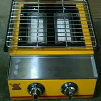kompor panggangan barbeque 2 tungku(tungku kaca)