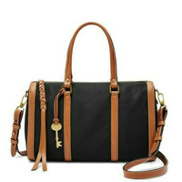 Tas Fossil Kendall Satchel Black Canvas trimmed leather SIZE L