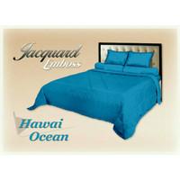 bed cover set biru polos