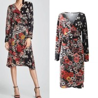 Midi Dress Gaun Pesta V neck Full Flower Pattern (M) Import Original