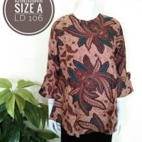 INBS198 Pakaian Blus Batik Katun Seragam Atasan Baju Wanita Murah
