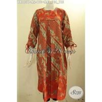 Batik Dress Model Pias Depan Lengan Bertali Untuk Kerja Size M DR8437P df2a06218d