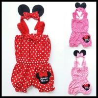 Harga Hemat! Jumpsuit Anak Bayi Cewek Minnie Mouse Polkadot + Bandana
