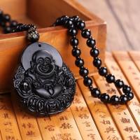 Kalung Obsidian Hitam Buddha Ketawa Duduk Buddha Maitreya Mi Le Fo