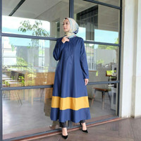 Gamis Resleting depan / Baju wanita busui / Hijab : Abila Dress navy