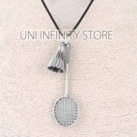 JWNE0285 Silver Kalung Raket Bulu Tangkis Pria Wanita Badminton Racket