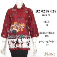 B20218028MRN Blus batik / batik jogja / baju batik wanita MARUN murah