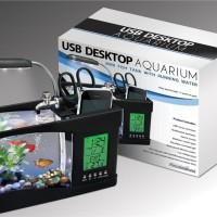 Jam Meja USB Desktop Aquarium Mini Fish Tank with Running Water-LS040