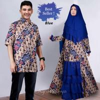 Couple batik pesta aryani blue xl baju pasangan sarimbit ana biru TM