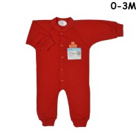 MIYO Baju Kodok Panjang Rib Buka Kaki Bayi/Baby Merah New Born (0-3M)