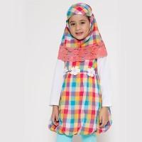 4 You Moslem Plaid Dress Kuning - Size M