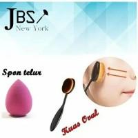 Jual JBS New York Set Oval MakeUp Brush Foundation Powder Dan Spon Beauty Murah