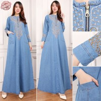 SB Collection Dress Maxi Marini Gamis Jeans Longdress Wanita