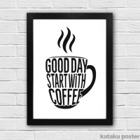 Jual Good Day Start With Coffee - Hiasan Dinding Kafe - Poster Quote Kopi Murah