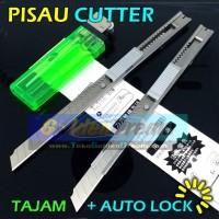 Pisau Cutter Alat Potong Cutting Knife Auto Lock Stainless Besi Kecil